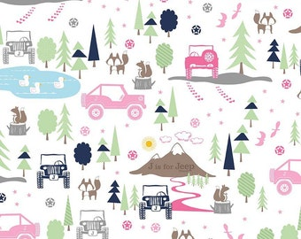 J is for Jeep Girl Main White - Riley Blake Designs - Pink Cars Trucks Mountains - Quilting Cotton Fabric - by the yard fat quarter half