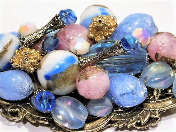 Miriam Haskell Style Art Glass Statement Brooch Vintage Hand Crafted Artisan Made Glass Bead Beaded Brooch Wedding Bride Bridal Jewelry