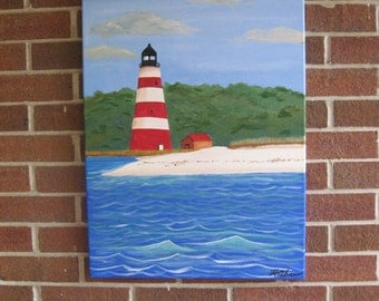 Lighthouse Painting Red and White Lighthouse Georgia Lighthouse Striped Lighthouse Coastal Art Nautical Beach Decor Beach Art