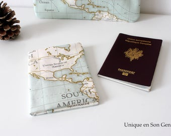Passport case travel planisphere world unique in its kind, zoom on the United States