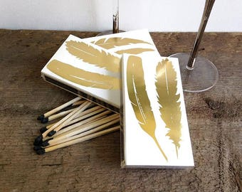 8 wedding matches, Gold Foil Feather Matches, Feather Matches, Boho Style Matches, large matches, party matches, long matches, wedding favor