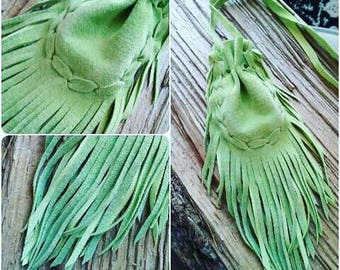 Green Medicine Bag Necklace * Green Leather Medicine Bag * Green Medicine Pouch * Fringed Medicine Bag * Crystal Pouch * Neck Bag