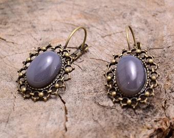 Grey agate copper earrings, Grey agate earrings, Agate copper earrings, Grey agate earrings, Agate drop earrings, Gray stone earrings
