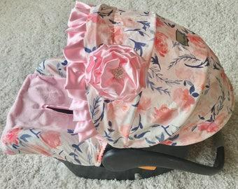 Pink Baby Car Seat Cover, Blush Floral Car Seat Cover, Floral Car Seat Covers, Infant Car Seat Covers, Blush Car Seat Covers