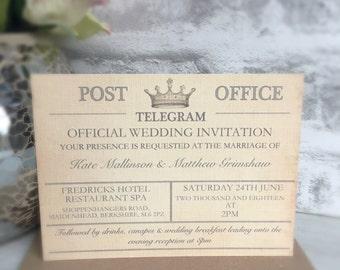 Personalised Wedding Invitation, Telegram Style Wedding Invitation, Wedding Invitation, Telegram Style Wedding Invitation, Telegram  Wedding