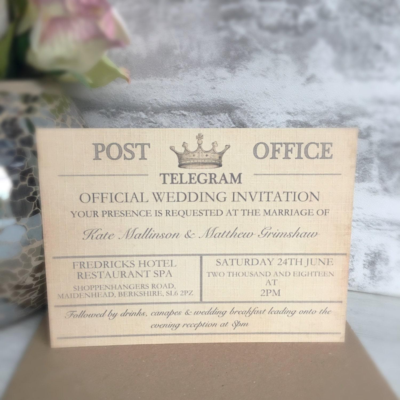 Probe Vintage Reise Hochzeitseinladung Telegramm Hochzeit