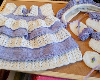 Pretty Layered Dress, with Matching Bonnet, Mitts & Booties