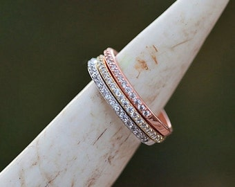 Sterling Silver/CZ Stacking Rings - 3 colors! LIMITED SUPPLY
