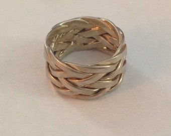 Woven sterling silver ring size 4.25