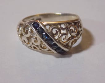 Sterling silver blue stone ring size 7