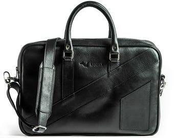 "KANZEK Black Full Grain Leather Laptop Messenger Briefcase / Shoulder Bag, 15.6"" Computers, Light and Professional with Premium Materials."