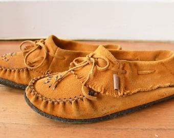 Leather Fringe Moccasins - Slip on shoes