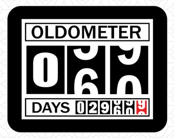 Oldometer Decal Design 60 Years, SVG, DXF, EPS Vector files for use with Cricut or Silhouette Vinyl Cutting Machines