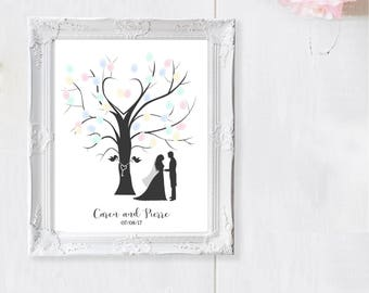 Wedding Fingerprint Tree  - Wedding Guest Book - Printable Fingerprint Tree - Personalized Alternative Guest Book - Two Little Birds