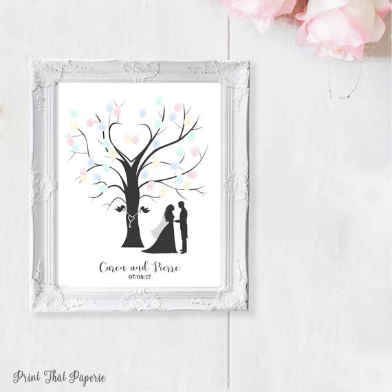 Wedding Fingerprint Tree - Wedding Guest Book - Printable ...