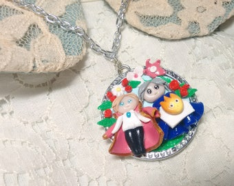 Howl's Moving Castle necklace/ Howl, Sophie and Calcifer charm necklace/ Studio ghibli necklace/ Handmade cameo
