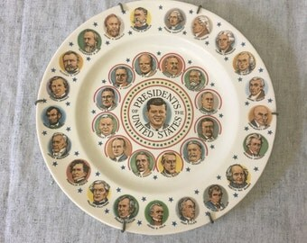 Vintage John F Kennedy Presidents of the United States Decorator Plate, Americana