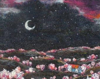 Felt Picture. Dreamlike Landscape.