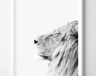 Lion print, Animal, Minimalist, Minimal, Scandinavian, Modern art, Wall decor, Digital art, Printable, Digital Instant Download 16x20,24x36