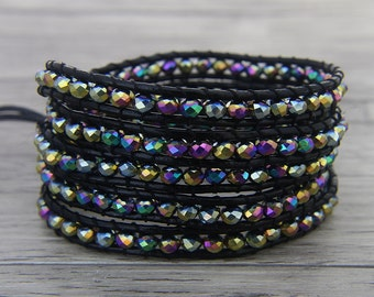 Multi Colors Crystal Glass Bracelet Leather wrap Bracelet leather Glass Bead Bracelet Gypsy Bead Bracelet Christmas gift Jewelry SL-0456