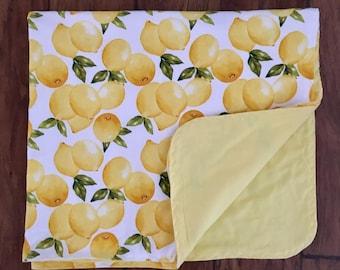 Lemon Flannel Swaddle Blanket-Double sided Flannel Receiving Blanket-Flannel Swaddle Blanket- Lemons Receiving Blanket-Modern-Handmade