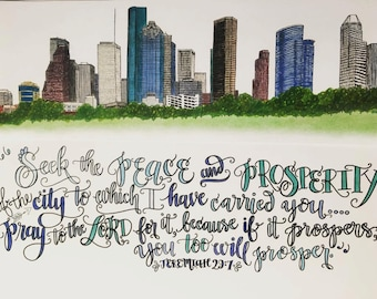Houston Skyline Print including Jeremiah 29:7 - hand drawn, Pray For Your City