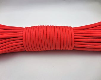 SOLID; 100ft and 50ft, 550lb Type III Parachute cord with 7 inner strands