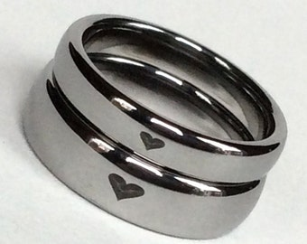 2 PCs Tungsten Couples Rings, His and Her Rings, Engagement Rings, Promise Rings