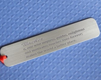 Engraved Bookmark, Definition of Teacher, Aluminum Bookmark, Teacher Gift, Custom Bookmark, Gift for Him or Her, Personalized, Book Club