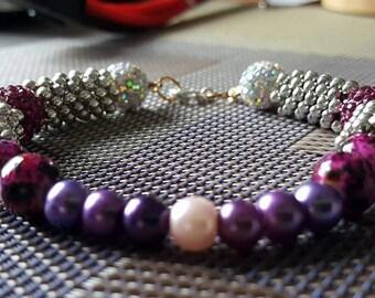 Shamballa Snowflake Pearl Bracelet