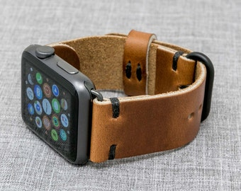 Apple Watch Band | Horween Leather Whiskey Cavalier w/ Black Thread  | The Hudson Strap for Apple Watch
