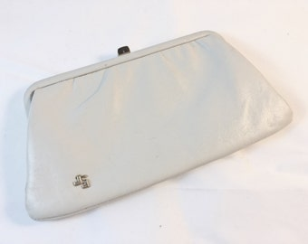 Vintage Cream White Clutch with Gold Colored Trim by Jane Shilton