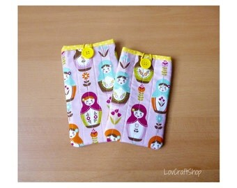 Russian dolls iPhone/ Smartphone/ Cell phone cover - yellow and white polka dot lining