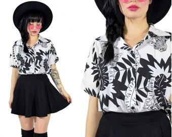 vintage 90s safari print shirt black white minimalist zebra palm leaf blouse top cotton gauzy medium large