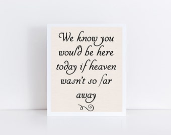 We know you would be here today if heaven wasn't so far away Printable, Wedding Memorial Instant Download, In Loving Memory, Memorial Table