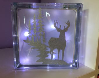Stag in the woods glass light block, night light, mothers day gift, light up gift