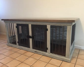 Dog Kennel, Shabby Rustic Finish, Dog Crate, Pet Furniture, Dog Bed