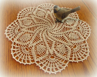 "Ecru/Natural Crochet Doily--""Tropical Pinwheel"" Doily--Pinwheel, Pineapples, & Fans--14""--Free Shipping"