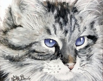 Blue Eyes - 3x3 Enclosure card printed from my original oil painting with envelope.