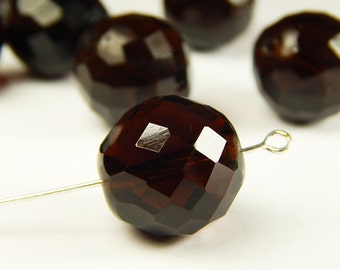 1 Pc - 18mm Faceted Round Smoky Topaz Czech Glass Bead - Focal Bead - Crystal Bead - Spacer Bead - Jewelry Supplies