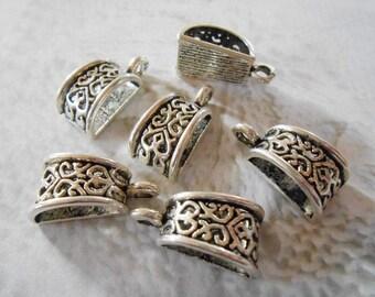 20 LARGE Silver bails 19 x 10 mm Antique silver pendant bails Large hole bails 5 mm hole Necklace bails Jewelry bails DIY Jewelry Supplies