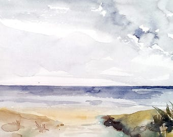 Path to the Beach watercolor original painting, 11x 9 inches with mat, Cape Cod New England shore coastal scene landscape