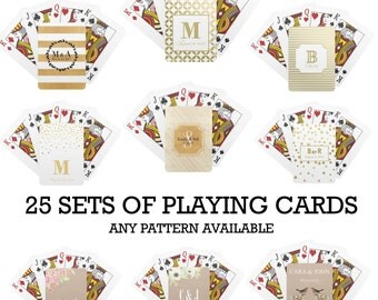 SET OF 25 Personalized Wedding Playing Cards Custom Deck Of Gold