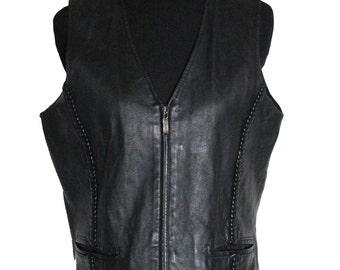 Vintage Black Leather Vest