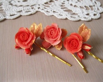 Coral bridesmaid hair pins Coral hair accessory Coral wedding bobby pins Rose gold bridal hair piece Coral hair flower Coral hair piece