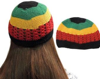 HOT Fashion Net Rasta Handmade Crochet KUFI Beanie Hat Knitted Reggae Style Cap RLW688