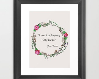 Jane Austen quote. Valentines gift. Romantic gifts for her.