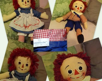 """Raggedy Ann and Andy Doll, Rag Dolls, 14"""" tall Raggedy Ann, 17"""" Raggedy Andy, Knickerbocker, Perfect Gift for Doll Collector"""