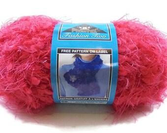 "Phentex ""Fashion Two"" Red Novelty Yarn, Eyelash Slub Type Yarn for Scarves, Yarn Destash, Price Per Skein, 2 Available"