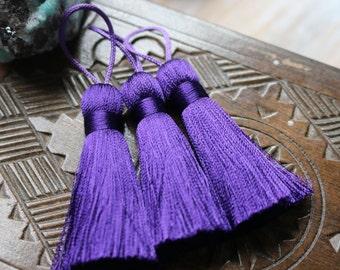 Purple Tassel, Purple Silk Tassel, Jewelry Tassel, 2 Inch Tassel, Small Purple Tassel, Purple Silk, Silk Tassel, Handmade Tassel, AB074